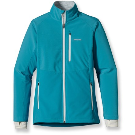 Ski The women's Patagonia Integral jacket uses a hybrid design to protect you from chilling wind and to maximize breathability during aerobic winter workouts and cross-country skiing adventures. Windproof panels protect chest and tops of sleeves with a bonded, stretch-woven soft-shell fabric; brushed fabric throughout rest of jacket wicks, breathes and adds warmth. Deluge(R) Durable Water Repellent finish causes water to bead up and roll off, fending off light rain showers and snow. Left chest pocket and 2 handwarmer pockets have zippers for secure storage; internal cord pass-through lets you easily route headphones. Polartec(R) Power Dry(R) polyester fleece cuff gaiters feature thumb loops to help seal out the elements. Full-length zipper features a windflap for increased protection; tall collar increases comfort. Slightly dropped tail seals closed with a right-side, single-pull drawcord. Slim athletic cut adds support, wicks moisture and keeps you warm. - $103.93