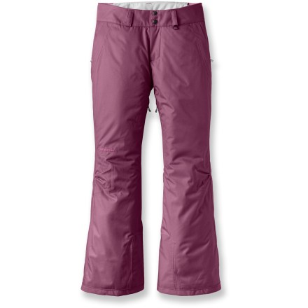 Ski The lightweight, insulated Patagonia Snowbelle women's snow pants let you spend all day skiing or riding in waterproof, breathable comfort. Rugged, 2-layer polyester shell with waterproof, breathable laminate provides all-weather protection. 60g synthetic insulation provides warmth even when damp, compresses easily and features 90% recycled fibers. Polyester lining moves moisture away from your body and glides easily over base layers. Brushed tricot-lined waistband wicks moisture and provides against-the-skin comfort; zip-fly, 2-snap closure, and adjustable waistband tabs offer a personalized fit. Mesh-lined inner thigh vents release excess body heat and prevent snow entry. Snow gaiters securely wrap around boots with gripper elastic to keep snow from entering pants. Patagonia Snowbelle pants feature scuff guards to protect cuffs from abrasion and sharp edges. Stash your gear in 2 zippered handwarmer pockets. Articulated knees allow unrestricted movement for deep knee drops and radical aerials. All exterior zippers are treated with a Durable Water Repellent finish for water resistance and quick drying. - $138.93