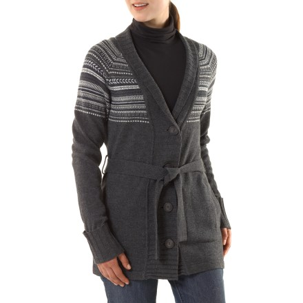 The retro Nordic sweater by Patagonia brings back a snow bunny look with a tie at the waist and oversized shawl collar. Soft lambswool blended with nylon offers exceptional elasticity and resilience. Patagonia Nordic sweater has a wide rib-knit placket with large buttons, raglan sleeves and fold-over cuffs >>>> Lower hip length. Side pockets with rib-knit welts keep hands warm. - $124.93