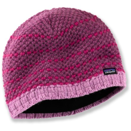 Entertainment The Patagonia Beatrice beanie has an attractive wool/nylon exterior that is fully lined with warm polyester fleece for comfort on all your winter adventures. Wool/nylon exterior has a stylish textural knit. - $26.93