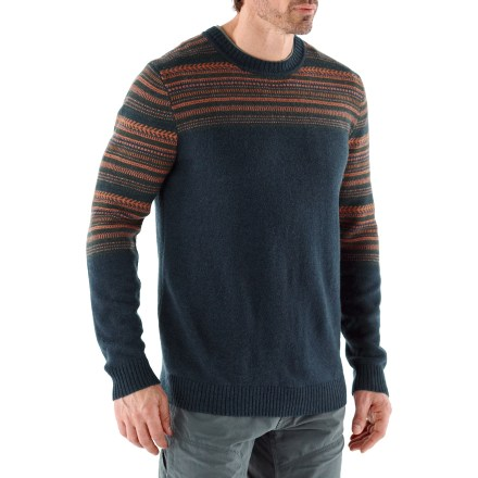 Cozy up next to the woodstove on a cold winter day with the soft Patagonia Nordic Crew sweater. Soft lambswool/nylon blend provides durability, longevity and shape retention. Features a colorful jacquard knit across the shoulders and upper sleeves. The Patagonia Nordic Crew sweater has a regular fit. Hand wash cold; dry flat. - $94.93