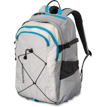 Camp and Hike A carry-all for your favorite stuff, the Patagonia Cascada 30L women-specific daypack keeps it all together with 2 main compartments and plenty of organizer pockets. Generous main compartment stows bulky items and features a raised, padded sleeve that fits most 17 in. laptops. Sleeve doubles as a hydration pocket with tube port (reservoir not included). Secondary interior compartment has a key lanyard and organizational pockets for small items. 2 more external stash pockets, including 1 soft, tricot-lined pocket to protect sunglasses or electronics. Exterior shockcord cinches down bulky items. 2 stretch side pockets keep your water bottles handy. All fabrics are treated with a Deluge(R) Durable Water Repellent finish to repel moisture and stains. Patagonia Cascada daypack includes a top-mounted, reinforced haul handle. Closeout. - $61.93