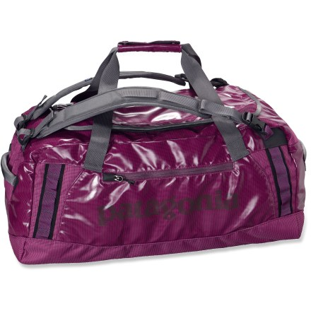Camp and Hike The Patagonia Black Hole 60L duffel is a highly water resistant and highly durable duffel designed to carry your gear to faraway places. This size includes shoulder straps as a carrying option. - $28.93