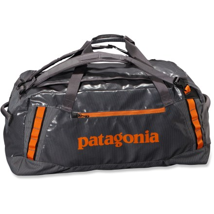 Camp and Hike The Patagonia Black Hole 120L duffel is a highly water resistant and highly durable duffel designed to carry your gear to faraway places. This size includes shoulder straps as a carrying option. - $110.93