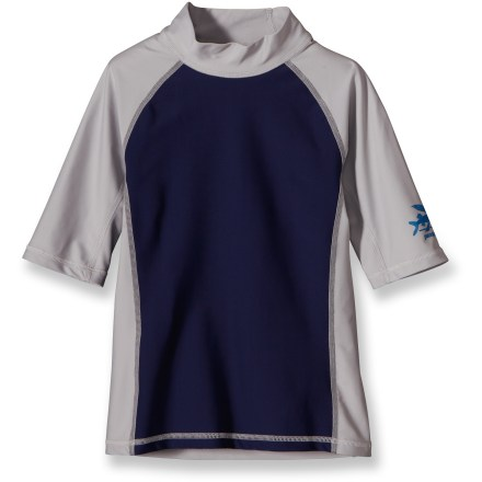 Surf This sun-stopping Patagonia rashguard gives a boy the protection he needs when snorkeling, surfing, boogie boarding or paddling out to sea. Quick-drying nylon/spandex fabric sports UPF 50+ sun protection, shielding skin from harmful ultraviolet rays. Extended sleeves and high neck with non-chafing collar provide good coverage. Anti-rash side gussets encourage flexibility. Patagonia boys' rashguard layers easily under a wetsuit. Flat seams prevent chafing. Closeout. - $13.73