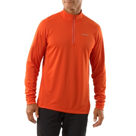 Fitness Offering a bit of extra coverage, the Patagonia Fore Runner quarter-zip top enhances your comfort on the run. Quick-drying and moisture-wicking polyester mesh fabric offers UPF 30 sun protection. Gladiodor(R) natural odor control employs benign amino acids to help keep funky scents at bay. Reflective zipper offers on-the-fly ventilation; collar protects neck from drafts. Reflective logos on chest and center back enhance visibility. Offset seams reduce chafing. Patagonia Fore Runner quarter-zip top offers a slim fit. - $39.93