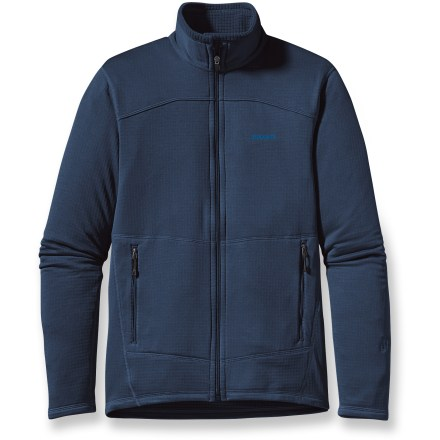 Popular among backcountry athletes, the Patagonia R1(R) full-zip fleece jacket serves dual duty as a winter mid layer and a lightweight jacket for cool autumn mornings or summer evenings. Versatile R1 fleece provides excellent stretch, warmth and compressibility in a variety of temperatures; it dries out quickly, too. Jersey microfiber face wicks moisture and layers smoothly. Off-shoulder seams ensure chafe-free comfort under pack straps. 2 zippered handwarmer pockets stow small items. The R1 full-zip fleece jacket is 100% recyclable through Patagonia's Common Threads Recycling Program-simply return the worn out jacket to Patagonia. Closeout. - $102.93