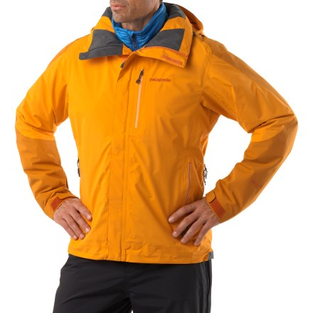 Camp and Hike The men's Patagonia Piolet rain jacket gives you the protection you need to enjoy the high country, whether you're hiking, biking or skiing. 2-layer nylon Gore-Tex(R) Performance Shell provides waterproof, breathable protection and total versatility in the mountains. Hanging lining breathes and wicks moisture away for warm, dry comfort. Laminated visor on helmet-compatible, 2-way adjustable hood keeps sun rays and snowflakes out of your eyes. Pit zips let you quickly dump heat. Pleated cuffs tightly seal around your wrists to keep moisture out. Embedded cordlocks in the hood and hem allow quick adjustment without opening the jacket. 1 chest and 2 handwarmer pockets have watertight zippers; pocket positioning won't interfere with harnesses or pack straps. Patagonia Piolet jacket also has 1 internal zip security pocket. Regular fit allows airflow and evaporative cooling, and eases layering. Closeout. - $199.93
