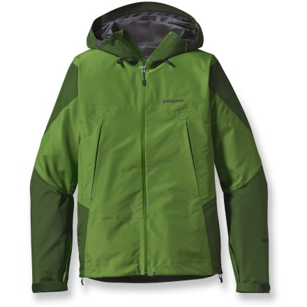 The preeminent minimalist choice for going fast and light, the Super Pluma is the lightest weight 3-layer waterproof, breathable jacket in the Patagonia lineup. Gore-Tex(TM) Pro Shell uses a superlight yet durable fabric with a minimalist micro-grid backing for ultimate breathability. Watertight pit zips let you dump heat. Slim Zips design-watertight coated zippers reduce weight on exterior pockets and pit zips. Helmet-compatible, 2-way adjustable hood with laminated visor optimizes visibility in bad conditions. Cuffs have low-profile closures with pleated gussets. Embedded cordlocks in the hood and hem allow quick adjustment without opening the jacket. Gusseted underarms let you reach without the jacket riding up. Zip handwarmer pockets are positioned for easy access with harnesses and pack straps. Pressed pleats add volume to chest pockets without additional seams; internal zip pocket. Patagonia Super Pluma has a regular fit that allows airflow and evaporative cooling, and eases layering. - $243.83