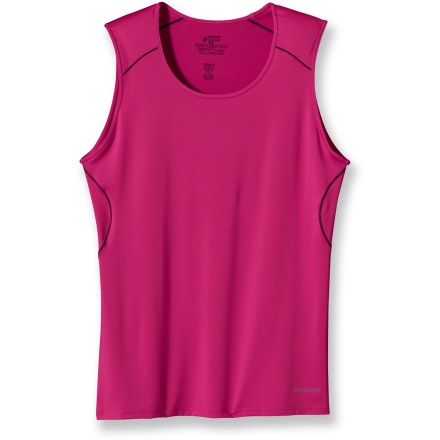 This silky soft, featherweight Patagonia Capilene(R) 1 Silkweight tank top is a great choice for high-octane activities. Stretchy, quick-drying and moisture wicking, the polyester and spandex fabric offers comfort in a wide range of temperatures. Fabric provides UPF 50+ sun protection, shielding skin from harmful ultraviolet rays. Angled side panels help prevent seam discomfort where arms are most active next to fabric. Raglan sleeves eliminate shoulder seams, enhancing comfort under pack straps. Contoured, feminine fit makes the Patagonia Capilene 1 Silkweight Stretch tank top an easy-layering garment. Closeout. - $4.83