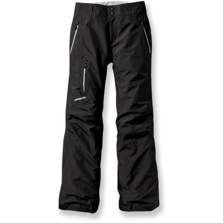 Ski The women's Patagonia Powder Bowl shell pants sport waterproof construction and the technical features to let you cruise whatever bowls, groomers or backcountry runs call your name. Waterproof 2-layer Gore-Tex(R) laminate construction uses moisture-wicking mesh and brushed fabrics to create a very breathable garment. Combination of a brushed and slick mesh lining for easy layering and moisture wicking; adjustable elastic tabs in waist customize the fit. External thigh vents quickly release heat and provide airflow for breathability. Articulated knees encourage free range of motion. Cuffs feature gaiters to keep snow out and tough scuff guards that protect against abrasion and edges. Stash your keys, ID, phone and a snack in watertight, zippered pockets: 2 handwarmers and 1 at the right thigh. Loops on rear yoke of the women's Powder Bowl shell pants securely attach to compatible Patagonia jackets (sold separately). - $208.93