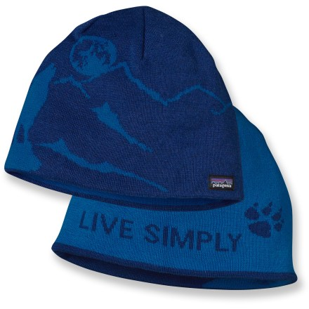 Entertainment The reversible Patagonia Flippin' Beanie hat features attractive graphics inside and out to adapt to your ever-changing mood. Stretchy nylon/wool blend has a soft hand that is comfortable next to skin. Reversible design of the Patagonia Flippin' Beanie hat gives you 2 looks to choose from. 1 size fits most. - $26.93