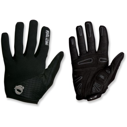 Fitness The Pearl Izumi SELECT Gel FF bike gloves for men offer bump-damping gel support, superior grip and moisture-management for a comfortable day's ride. Soft, durable Clarino(R) synthetic leather palms with anatomic patterning maximize comfort and grip. On the palms, strategically and anatomically positioned gel padding absorbs shock, protecting nerves in wrists. Mesh palm linings help reduce overheating and perspiraton by bringing the cooling benefits and sun protection of white fabrics to dark fabric. In addition, Icefil(R) polyester fibers employ a multistep cooling process to provide comfort in heat and humidity. Fabric on back of hands wicks moisture and enhances ventilation; soft fabric on the thumb gives you a gentle place to wipe your nose. Direct-Vent mesh ventilates while providing UPF 40+ sun protection against harmful ultraviolet rays. Rip-and-stick pull tabs on wrists close gloves snugly and ease removal; easy-off glove removal tab on fingers. - $23.93
