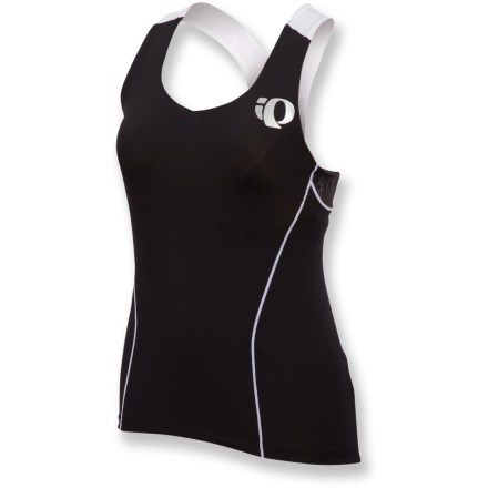 Fitness Forget that old running top. Wouldn't you train and triumph in the Pearl Izumi ELITE Tri Support singlet?. Moisture-wicking, quick-drying fabric blend offers supportive compression and resists damage from chlorine. Textured fabric over shoulder and upper back enhances aerodynamics. Rear panels provide superb ventilation and stretch without sacrificing coverage. Majority of fabric protects skin from damaging sunlight with a UPF rating of 50+; rear mesh panels offer a UPF rating of 28. Built-in bra offers light support, and a plush elastic band enhances comfort. Easy-access envelope pockets stash energy foods. Flatlock seams reduce abrasion, bolster muscle support and ensure a streamlined look and feel. The Pearl Izumi ELITE Tri Support singlet is formfitting. - $37.83