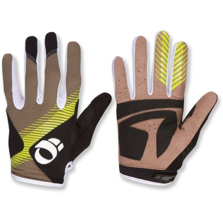 Fitness These full-finger Pearl Izumi Divide men's bike gloves give your hands bump-damping support during off-road adventures. Soft, durable Clarino(R) synthetic leather palms maximize comfort and grip. Anatomic palm construction significantly minimizes bunching while enhancing bar grip. Stretch fabric on back of hands wicks moisture and enhances ventilation; soft, low-profile fabric on the thumb gives you a gentle place to wipe your nose. Index and middle finger feature silicone screened tips enhance gripping performance. Pearl Izumi Divide bike gloves have a rip-and-stick closure for a snug and secure fit. - $19.93
