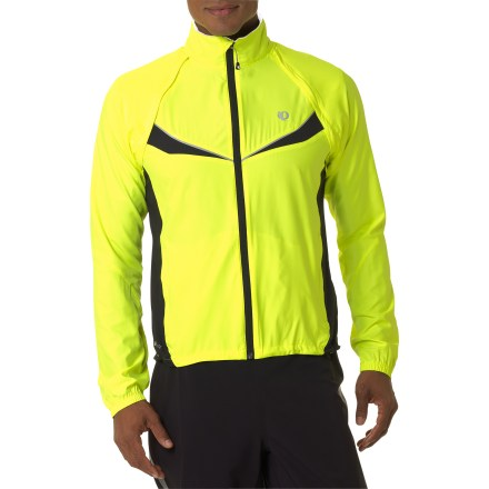 Fitness The versatile Pearl Izumi ELITE Barrier convertible bike jacket is a great choice for chilly morning rides that often turn into warm afternoons. Lightweight ELITE Barrier fabric is wind- and water-resistant as well as extremely breathable. 1-piece integrated sleeves remove to convert jacket into a vest; stow sleeves in spacious rear zip pocket. Full-length zipper helps you regulate body temperature; includes a protective draft flap to keep wind out and warmth in. Semifitted design enhances performance and prevents fabric from flapping in slipstream. 2 handwarmer pockets and 1 chest pocket allow you to keep cycling essentials close at hand. Pearl Izumi ELITE Barrier convertible bike jacket has reflective accents to increase visibility during early-morning and evening commutes. - $76.93