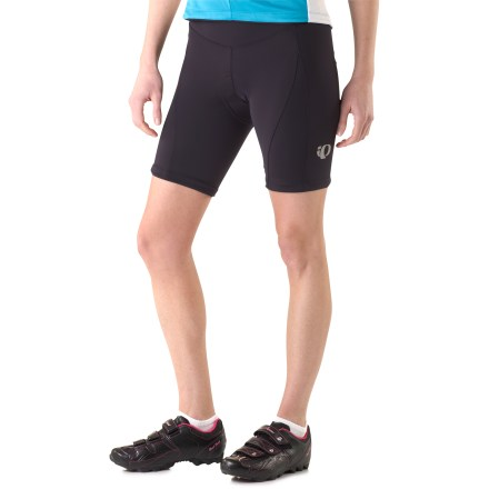 Fitness The Pearl Izumi Symphony shorts for women are ideal for training and group rides. They feature a unique sweat-activated technology that cools body surface temperature. ELITE Transfer stretch fabric transfers moisture to the outer surface for fast evaporation and all-day comfort; In-R-Cool technology reduces overheating and perspiraton. In-R-Cool brings the cooling benefits and sun protection of white fabrics to dark fabrics; technology reflects UV rays and reduces fabric temperature. 4-way, seamless stretch chamois reduces friction points and enhances cushioning in key areas; features 13mm of variable-density microfiber padding. Gender-specific chamois wicks moisture away from skin; active carbon yarns help reduce odors and regulate body temperature. Bike shorts feature a wide waistband that provides comfort and a solid but nonbinding fit. Fabric provides UPF 50+ sun protection, shielding skin from harmful ultraviolet rays. Silicone grippers at leg hems hold shorts in position. Anatomic multipanel design eliminates the inseam and potential pressure points. The Pearl Izumi Symphony bike shorts feature reflective highlights that improve nighttime profile. Single side pocket is perfect for carrying a little bit of cash, ID, debit card or key. - $110.00