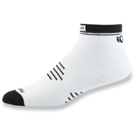Fitness Pearl Izumi Elite Low bike socks feature high performance fabric and superior construction for excellent moisture management and a comfortable fit. Nylon/polyester/spandex fabric blend optimizes moisture management, durability and stretch. Lightweight mesh uppers reduce bulkiness and offer a cooling effect, helping to keep socks dry. Anatomic arch compression provides a contoured fit and added support. Pearl Izumi Elite Low bike socks feature nylon-reinforced heels and toes to increase durability; fine toe stitching alleviates pressure points. *Discount will be applied when you check out. Offer not valid for sale-price items ending in $._3 or $._9. - $12.00