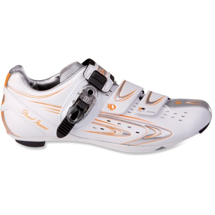 Fitness Pearl Izumi Elite RD III women's bike shoes feature a stiff platform for serious power transfer, in a lightweight design that won't poach energy from your hard-working muscles. Synthetic leather uppers hold up to everyday wear and tear; perforations boost breathability and drainage. Low profile, concave shaping of footbed/plate with built-in arch support cradles the foot for pedaling efficiency. 2 rip-and-stick straps and ratcheting buckle follow the anatomic shape of the foot to eliminate hot spots and remove pressure from your instep. Adjustable buckle mounting plate personalizes the fit. Enhanced plate stiffness and anatomic support lend pedaling power. Synthetic leather heel cups hold your heels securely; replaceable heel bumper boosts protection. Dual-density EVA insoles offer forgiving cushioning underfoot. 1-piece uppers offer a second skin fit, keeping the Pearl Izumi Elite RD III bike shoes lightweight and comfortably snug. - $99.83