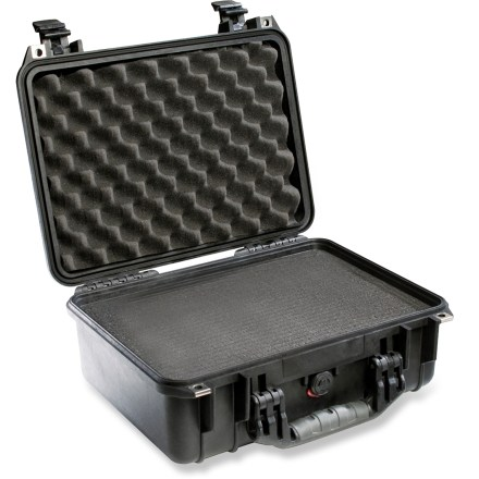 Entertainment The Pelican 1450 case with foam helps protect your electronics and valuable equipment in a watertight, airtight and virtually unbreakable cocoon. Ultra high-impact structural copolymer makes this case extremely strong and durable for total protection of your equipment. Neoprene O-ring seals perfectly for a dustproof, airtight and watertight seal; stainless-steel hardware adds durability. Automatic pressure purge valve allows quick equalization after altitude or temperature changes. Soft foam protects your equipment from impact, vibration and shock. The Pelican 1450 case interior measures 14.62 x 10.18 x 6 in. - $111.93