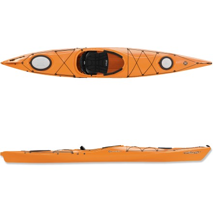 Kayak and Canoe The Perception Carolina 14.0 kayak offers easygoing performance and enough capacity for long trips. V-shape hull with soft chines makes the Perception Carolina 14.0 kayak stable and easy to paddle. Upswept, flared bow improves handling while crossing rough water. Rigid polyethylene hull withstands years of use without the need for maintenance. Zone DLX seat features a foam-encased pocket that cradles the lower back. Seat back adjusts forward and backward, up and down, and leg lifters offer additional support if needed. Backrest may be raised by pulling strap in front of seat forward or by pushing the button on front of seat to lower. Leg lifters raise seat pan to increase support and take pressure of the ankles. Knee pads allow you to place knees inside cockpit or outside without discomfort. Great for day trips or overnights, the 10 in. bow and oval stern hatches provide access to dry storage space for fishing supplies, picnic staples and camping gear. Dual-density hatch covers are stiff and durable, yet their soft, flexible edges make them easy to use; plus, they form a tight seal to keep contents dry. To seal hatch cover, simply catch the lip under the rim and press it on like the top of a rubberized food-storage container. Deck rigging on bow and stern lets you stash items you'll want readily available such as a bilge pump, extra paddle and map with weatherproof case, not included. Reflective perimeter deck lines increase safety by boosting visibility, and they provide a firm handhold to get back into kayak after a wet exit. Soft-to-the-touch carry handles at bow and stern make trips from the water easy; unlike hard, plastic handles, the soft-touch handles are easy on cold, paddle-weary hands. - $805.93