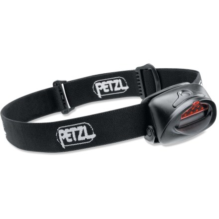 Camp and Hike The Petzl Tactikka Plus headlamp's filter provides white or red lighting options. And now this popular headlamp is 80% brighter! Not much larger than the small batteries that power it; Tactikka weighs a mere 2.75 ounces! 4 LEDs provide even lighting throughout your field of view with no blank spots in the beam; LED bulbs won't burn out. 3 brightness settings (maximum, optimum, economy) and a blinking mode ensure setting to meet your needs. Alternates easily between white and red light simply by moving the pivoting filter over the LEDs. Ergonomically designed, comfortable to wear elastic headband holds the light securely in place. Water-resistant design for all-weather use. Petzl Tactikka Plus LED headlamp is powered by 3 AAA batteries, included. - $33.93