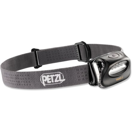 Camp and Hike Compact, lightweight and simple to use, the Petzl Tikka 2 headlamp is ideal for everyday adventures, including hiking, snowshoeing, reading and around-the-house activities. Tipping the scales at less than 3 oz., the Petzl Tikka 2 won't weigh you down during a light and fast hiking trip. 4 LEDs provide even lighting throughout your field of vision with no blank spots in the beam; LEDs throw the beam up to 29m. Push-button switch lets you easily change between 3 lighting modes (high, low and flashing) so you can choose the appropriate light level for the task at hand. Low level provides up to 120 hrs. of use and high up to 90 hrs. Headlamp tilts to point light where you need it. Provides IPX4 water resistance for reliability in inclement weather. Adjustable elastic headband holds the light securely in place; colorful headband and plastic casing add a little style. Compatible with the Petzl Adapt Tikka 2 system (not included), which allows you to quickly and easily attach the light in a variety of places. Battery compartment is hinged to allow simpler access than the previous version of the Tikka; compartment closes easily and securely. Runs on 3 AAA alkaline batteries, included; Tikka 2 is compatible with lithium batteries, which are lighter than alkaline batteries and perform better at lower temperatures. - $21.93