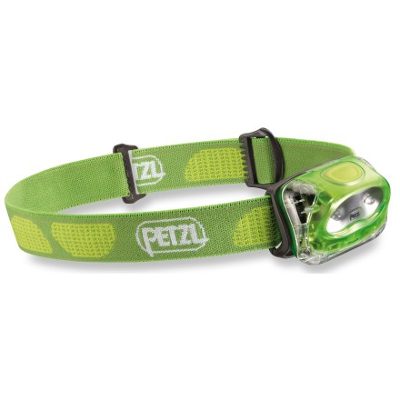 Camp and Hike So small yet so useful, the Petzl Tikkina 2 headlamp weighs in at only 2.8 oz. and features 2 LEDs for hand-free lighting at camp or around the house. 2 LEDs create a wide beam that reaches up to 23m; low level provides up to 190 hrs. of use and high up to 55 hrs. Push-button switch lets you easily change between 2 lighting modes (high and low) so you can choose the appropriate light level for the task at hand. Headlamp tilts to point light where you need it. Provides IPX4 water resistance for reliability in inclement weather. Adjustable elastic headband holds the light securely in place; colorful headband and plastic casing add a little style. Compatible with the Petzl Adapt Tikka 2 system (not included), which allows you to quickly and easily attach the light in a variety of places. Battery compartment is hinged to allow simpler access than the previous version of the Tikkina; compartment closes easily and securely. Runs on 3 AAA alkaline batteries, included. - $14.93