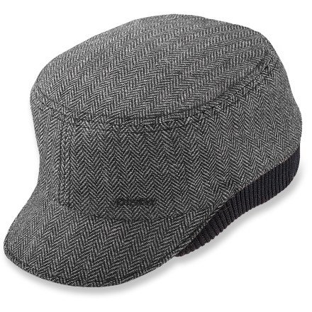 Entertainment The stylish, warm Pistil Oslo cap makes your morning commute more comfortable. Features and attractive herringbone wool/polyester fabric blend. Tuck your ears under the ribbed band on cold days. - $15.83