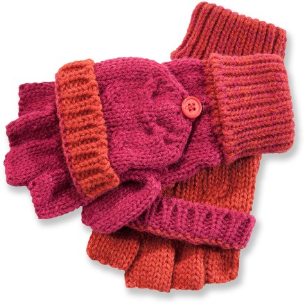 The Pistil Myla mittens convert to fingerless gloves to provide the dexterity needed for operating zippers and sending text messages on your smartphone. Mittens flip over fingerless gloves for warmth. Acrylic fabric has a soft hand. - $16.83