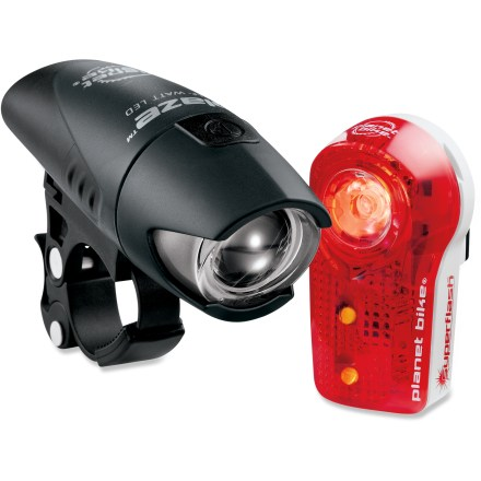 Fitness Improve your visibility after dark with this combo light set featuring a bright white front light and a Super Flash(TM) taillight. - $39.93