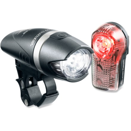 Fitness This light set from Planet Bike combines the Blaze(TM) front light and the Superflash(TM) taillight. Both offer bright, white LED light. Blaze's 1W LED front light is not only bright, but also features an optically advanced lens for a superior beam pattern. Includes high- and low-power beams and Superflash(TM) flashing mode. Reinforced alloy midsection makes this a durable choice. QuickCam(TM) mounting bracket accommodates tool-free mounting on handlebar; fits 25.4mm - 31.8mm handlebars. Superflash is possibly the brightest bike taillight on the planet; 0.5W Blaze LED plus 2 Extreme(TM) red LEDs provide visibility up to 1 mile. Flashing and steady modes; unique, eye-catching flash pattern. Compact vertical design is weatherproof, lightweight and durable. Comes with bike mounts and clip mount. All batteries are included. - $48.93