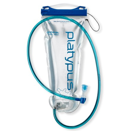 Camp and Hike Easy-to-clean and easy-to-fill, Platypus introduces a new widemouthed Big Zip SL two-liter reservoir. Lightweight, puncture-resistant, three-ply plastic laminate is lined with food-grade polyethylene that won't flavor your water with a plastic taste. Durable welded construction lets you boil, freeze, inflate and collapse the bag over and over again. Reservoir is lined with SlimeGuard(TM), an antimicrobial treatment that keeps water fresh and taste free. New SlideLock with secondary reinforcement ensures a secure and easy closure every time. Drinking tube assembly includes HyperFlow(TM) bite valve, providing one of the highest flow rates on the market. Quick-connect hose allows easy removal of reservoir from pack without rerouting tube. Taste-free tube won't affect the flavor of your water. Ergonomic shutoff valve is angled 90deg for no-hassle hydration. - $23.93