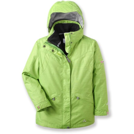 The Plumflower Diamond Dobby 3-in-1 girls' jacket surrounds her in warm, waterproof protection for fun days on the hill. Windproof polyester shell features a waterproof, breathable coating and critically sealed seams to shield her from the elements. Soft-shell liner jacket in coordinating colors can be worn under shell for added warmth, or as a stand-alone piece. Powder skirt keeps out cold air and spindrift. Plumflower Diamond Dobby 3-in-1 jacket has zippered hand pockets. Internal and external stash pockets accommodate a media player. Closeout. - $84.93