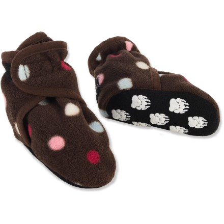 Entertainment The warm and comfy Polar Feet Infant Slipper socks offer easy on-and-off for minimal fuss when keeping little feet cozy through the chillier seasons. Cozy polyester fleece material helps keep feet warm and comfortable. Broad rip-and-stick straps make it easy to slip these on or off; once on, the straps provides a secure fit without hindering circulation. Double-layered polyester fleece insoles and outsoles provide gentle padding and good insulation. Nonskid applique on outsoles helps provide a bit of grip. Washer and dryer safe. All-synthetic construction makes the Polar Feet Infant slipper sock booties vegan friendly. - $12.83