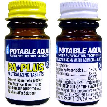 Camp and Hike Potable Aqua iodine tablets kill bacteria, viruses and giardia while taste-neutralizing tablets help rid treated water of the iodine taste. - $11.00
