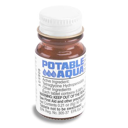 Camp and Hike Potable Aqua iodine tablets are a lightweight and economical way to make water suitable for drinking. - $6.95