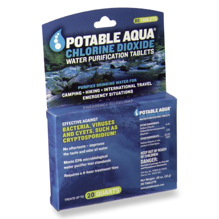 Camp and Hike Purifying water couldn't be easier! Simply drop a Potable Aqua chlorine dioxide tablet from this package of 20 into a quart of water and let it go to work. - $10.95