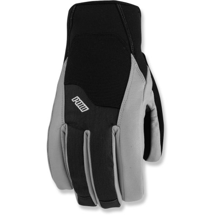 Ski Whether you're skiing, snowboarding, sledding or enjoying snowy landscapes, the POW Gloves Mega gloves offer the ultimate warmth and comfort. Tough corded nylon shells feature breathable, waterproof inserts and taped seams for protection from the elements; leather panels on fingers provide a reliable grip. Thinsulate(R) synthetic insulation offers lofty warmth without bulkiness and excellent packability; plus, it continues to insulate even if wet. Reinforced Bomber Rubber-Tex(R) palms deliver abrasion resistance and excellent grip; articulated construction enhances grip and alleviates hand fatigue. Soft polyester microfleece lining wicks moisture and enhances warmth. Removable stretch polypropylene liner gloves with grips add warmth and feel soft against skin; wear them alone in warmer conditions. Soft thumbs are perfect for wiping noses or goggles. Cuffs with rip-and-stick closures seal out the warmth. Closeout. - $32.83