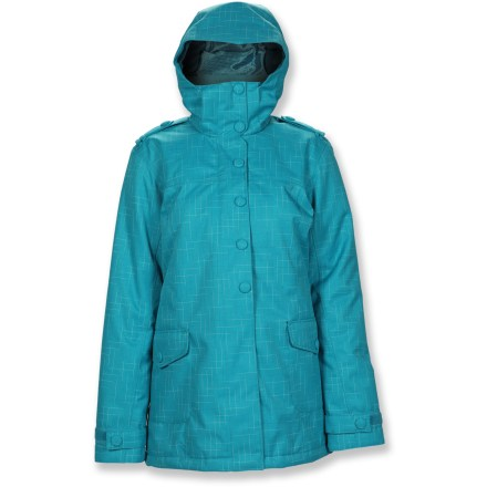 Ski Catch some air in the women's Powder Room Bistro insulated jacket, designed for lightweight peak performance so you won't be held back on the mountain or in the park. Polyester/rayon shell features a highly breathable, waterproof coating and critical seams are sealed for total weather protection. Durable Water Repellent finish causes water to bead up and roll off, fending off light rain showers and snow. Zentra(R) 100g polyester insulation provides warmth at minimal weight, so you stay warm without feeling bulky; Zentra is made entirely from polymers derivied from corn. Recycled polyester lining (made from recycled plastic bottles) is soft and moisture-wicking. Adjustable hood offers on-demand protection from inclement weather. Keep hands cozy in tricot-lined front pockets; interior zip media pocket features cord routing. Powder skirt with gripper seals out cold air and snow entry, and tucks away when not in use. Rip-and-stick cuffs and ajustable drawcord hem for a comfortable fit that helps to retains warmth; wrist gaiters with thumbholes help to keep snow out. Zippered underarm vents (with mesh gusset) let you quickly control core temperature, expelling excess body heat as need during high activity. - $139.93