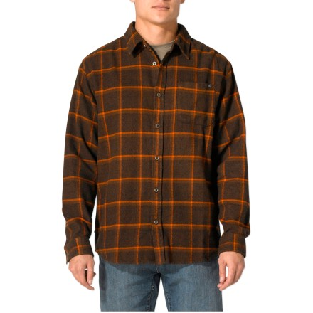 Pull on the prAna Dutchman flannel overshirt to keep warm on a chilly evening. Made from certified 100% organic cotton for breathable comfort and easy care. Yarn-dyed plaid is finished nicely with metal buttons at the front placket and sleeve cuffs. Single chest pocket stows small essentials. - $51.93