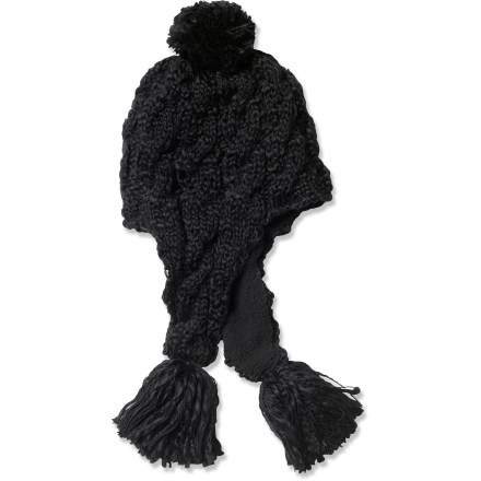 Entertainment The adorable, cable-knit prAna Tassel beanie features an irresistable pom-pom design and plush sherpa lining for comfort. Acrylic wicks moisture away and dries quickly. Cozy sherpa polyester fleece lining adds an extra layer of warmth. - $16.83