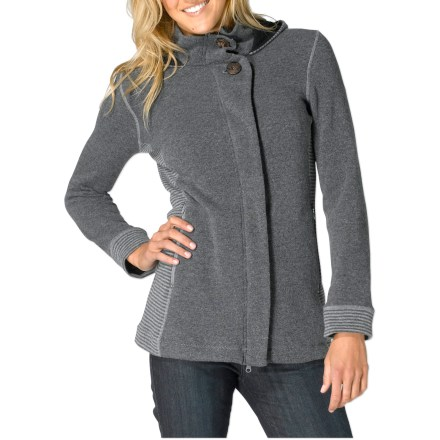The cozy and stylish prAna Kari jacket coordinates with nearly everything, making it a versatile clothing choice this season. Quick-drying wool/synthetic blend sweater knit has a soft hand and a brushed polyester interior for itch-free wear. For added warmth, the prAna Kari jacket has a long length, mock turtleneck and a hood. Easy care: machine wash in cold water and lay flat to dry. - $121.93