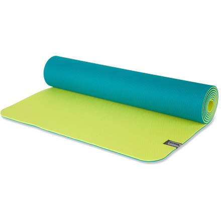 Fitness The grippy prAna E.C.O. Yoga mat provides great cushioning all kinds of workouts, including yoga and Pilates. Thermal plastic elastomer (TPE) has natural antislip properties and won't absorb sweat; textured surface provides additional grip. TPE does not contain PVC; mat can be recycled after its long life. 2-sided mat lets you choose the color and texture you like best. The prAna E.C.O. Yoga mat is 0.2 in. (5mm) thick for great cushioning. - $48.00