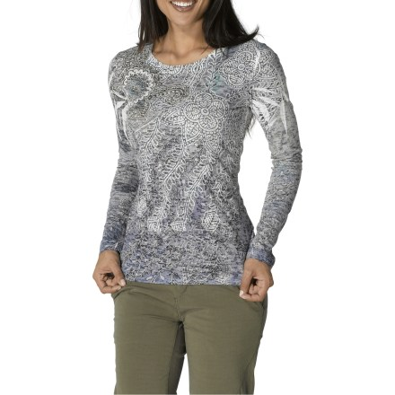 The prAna Vine shirt is embellished with a lively print that's sure to please. Cotton and polyester create the perfect balance of natural comfort, warmth and easy care. Slightly fitted to skim the body. Closeout. - $34.83