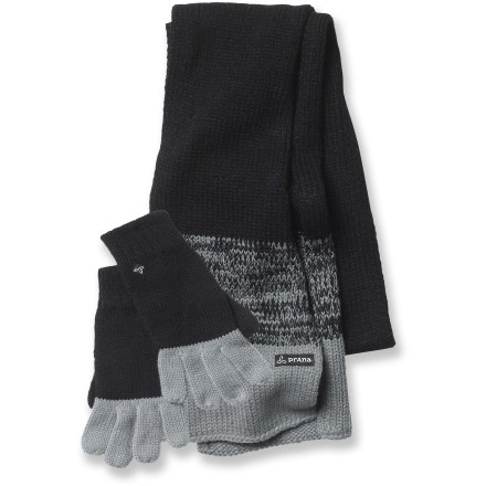 Ski The prAna Victory Gloves and Scarf set wraps you in warmth and style for cold-weather outings. The prAna Victory Gloves and Scarf set features soft acrylic that insulates even when wet and doesn't itch. Gloves stretch to fit. Closeout. - $17.83
