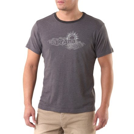 Climbing Whether you're relaxing in town or taking a quick trip to the climbing crag, the prAna Sun Heathered T-shirt is up to the task. Lightweight and oh-so soft, the cotton/polyester fabric blend feels great next to skin. Includes a prAna sun screen print on the front. - $23.93