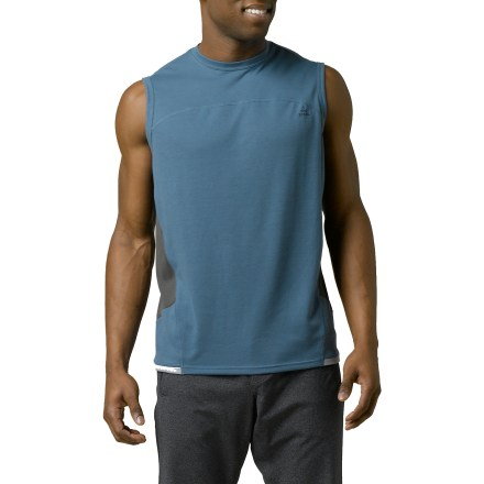 Fitness The extremely lightweight prAna Vertigo sleeveless T-shirt combines comfort with recycled fabric. Recycled polyester fabric is extremely breathable and lightweight; moisture transfers easily from skin to outside surface for evaporation. Fabric resists wrinkles. The prAna Vertigo sleeveless T-shirt offers a relaxed fit. - $27.93