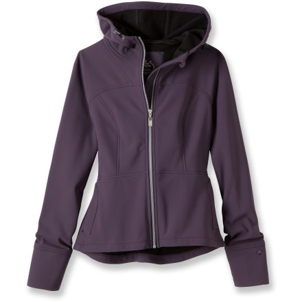 The prAna Alpine jacket offers warmth and stylish comfort with its feminine style lines and shirttail hem. Water-resistant soft-shell fabric with a knit face is soft, stretchy and comfortable; bonded fleece interior wicks moisture and increases the jacket's warmth. Full-length front zipper. Hood with drawcord. prAna Alpine jacket has zip hand pockets. - $79.83