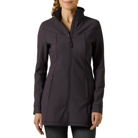The prAna Keva jacket is made from comfortable knit jersey fabric and is styled sleek and lean for exploring the urban wilderness. Shell fabric with a knit jersey face is soft, stretchy and resistant to moisture; bonded fleece interior wicks moisture and increases the jacket's warmth. Water-resistant, 2-way front zipper has an interior windflap that wraps around to protect chin from zipper abrasion. Princess seams add shape and comfort. prAna Keva jacket has 2 zippered hand pockets. - $131.93